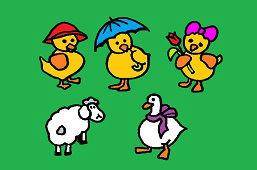 Chicks, goose and sheep