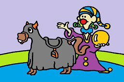 Clown and horse
