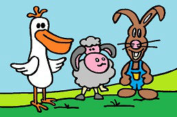 Pelican, sheep and bunny