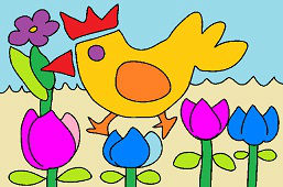 Hen and flowers