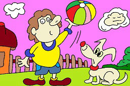 Boy with balloon and dog