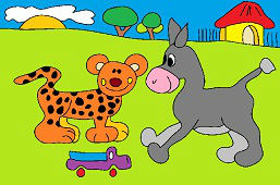 Leopard and donkey