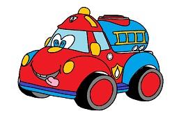 Cute red fire truck