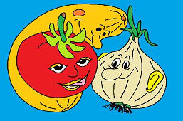 Onion, tomato and pumpkin
