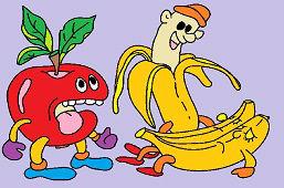 Green apple and bananas