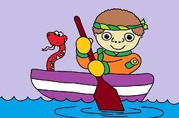 Boy and canoe