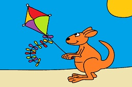 Kangaroo and kite