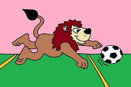 Lion and soccer ball