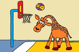 Giraffe and basketball