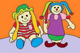 Doll and clown