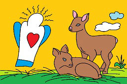 Deers and angel