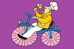 Ice-cream maker on bicycle