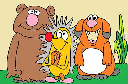 Bear, hedgehog and doggie