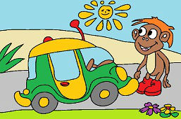 Boy and little car