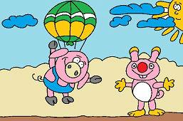 Parachuting piggy and squirrel