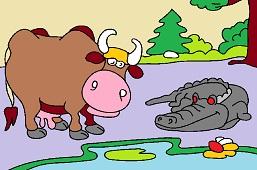 Cow and crocodile