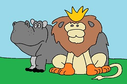 King of animals and Hippo