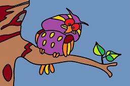 Owl on oak