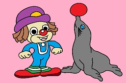 Young clown and seal