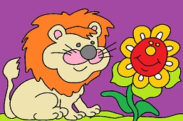 Lion and sunflower