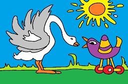 Goose and birdie
