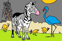 Zebra and flamingo
