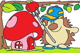 Hedgehog and toadstool house