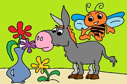 Donkey and bee