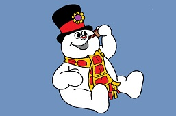 Snowman sits
