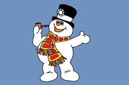 Snowman laughs