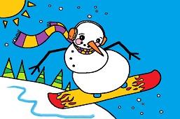 Snowman on a snowboard