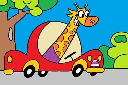Giraffe behind the wheel