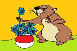 Beaver and fragrant flowers