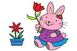 Bunny with tulip