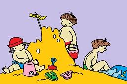 Kids on a sandy coast