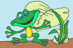 Frog under burdock