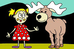 Girl and young moose