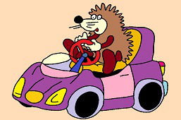 Hedgehog Mimzy and purple car