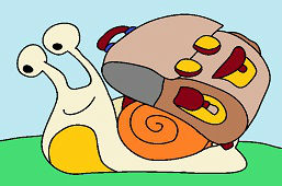 Snail with school bag