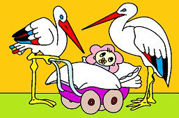 Storks and baby