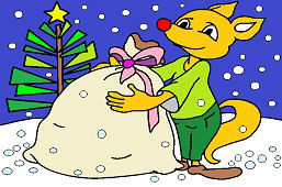 Fox with a sack of gifts