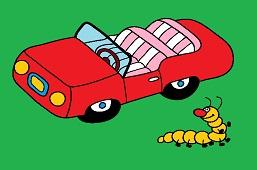 Little car and caterpillar
