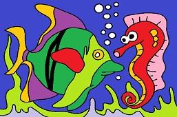 Fish and seahorse