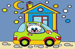 Kitty and new car