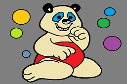 Bear and colorful bubbles