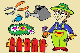 Gardener and tools