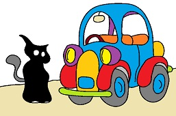 Black cat and car