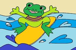 Frog on surfboard