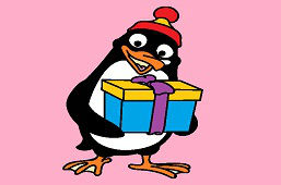 Penguin with gift