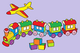 Toys – Plane, wooden train and cubes
